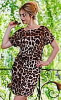 Неповторимое короткое женское платье под пояс с накладными карманами и леопардовым принтом штапель