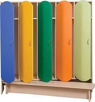 Шкаф 5-ти дверный для раздевалки с лавкой