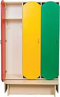 Шкаф 3-х дверный для раздевалки с лавкой, фото 1