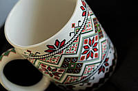 Чашка керамическая Вышиванка бело-зеленая