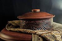 Сковорода из красной глины с крышкой, средняя