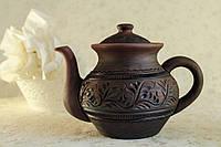 Чайник с узором, красная глина
