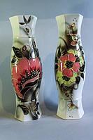 Керамическая ваза Мирайа с маком и с шиповником, в ассортименте