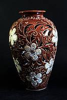 Керамическая ваза Фея, коричневая с белыми цветами