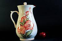 Кувшин белый с красными цветами, керамика