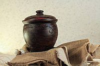 Макитра для солений, декорированная, красная глина