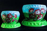 Набор керамических цветочных горшков зелено-голубого цвета