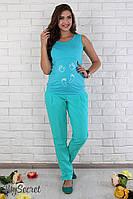 Модные брюки для беременных Semi, под живот  (бирюзовый)