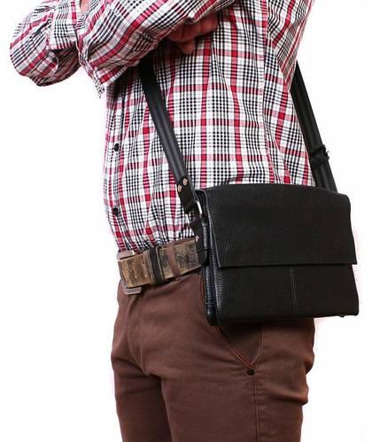Мужская сумка горизонтального типа с клапаном, натуральная кожа Alvi av-105black черная