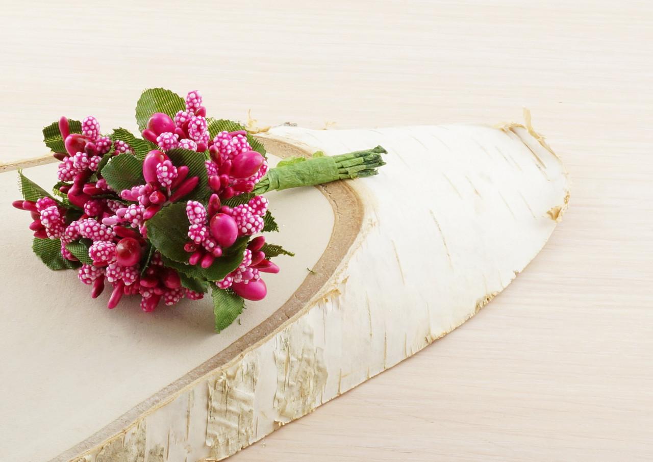 Тычинки бутоньерки ярко-розовые (6 шт) для флористики декорирования и творчества