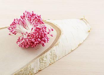 Розовые тычинки на белой нитке (1 уп.=100 тычинок)  для творчества флористики декорирования