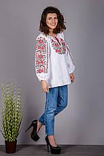 Женская вышиванка на домотканом полотне с красным узором, фото 3