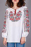 Женская вышиванка на домотканом полотне с красным узором