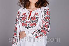 Женская вышиванка на домотканом полотне с красным узором, фото 2