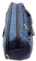 Стильная дорожная стеганая сумка облегченная синяя, фото 3
