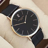 Мужские  часы Patek Philippe GENEVE - тонкие, цвет золото с черным, фото 1