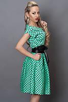 Нарядное бирюзовое платье из стрейч-коттона в актуальный горох