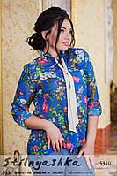 Женская шифоновая рубашка с галстуком большого размера Сирень
