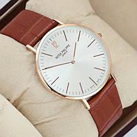 Мужские  часы Patek Philippe GENEVE - тонкие, цвет золото с белым циферблатом