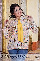 Женская шифоновая рубашка с галстуком большого размера Мультик