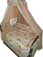 """Акция! Постельный набор в кроватку """"Элит""""  """"Мишки с пчелками  персиковый"""" 10 элементов"""
