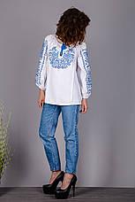Вышитая женская сорочка на домотканом лене с оригинальный узором, фото 3