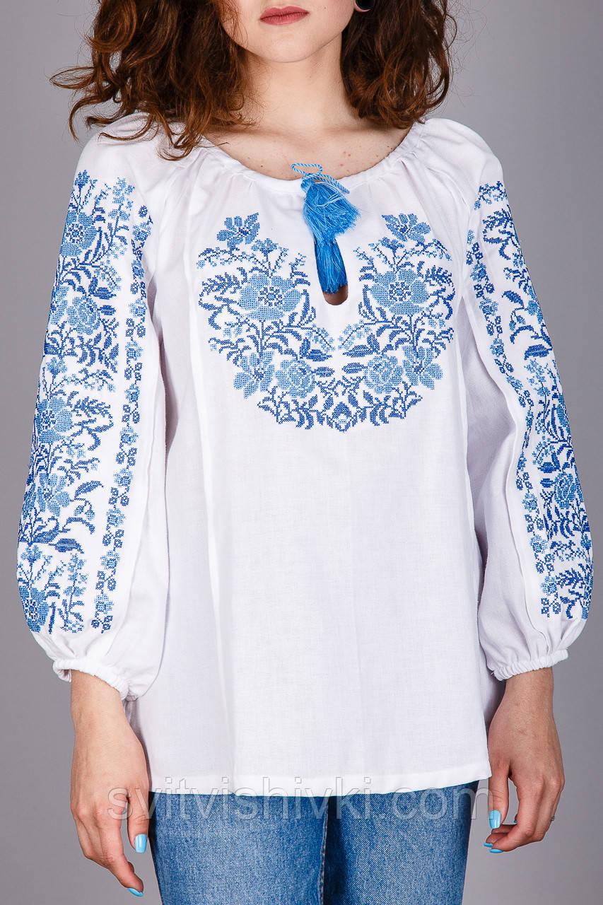 Вишита жіноча сорочка на домотканому олені оригінальний з візерунком