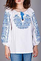 Вышитая женская сорочка на домотканом лене с оригинальный узором