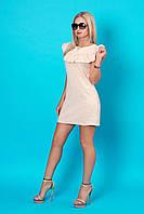 Маленькое летнее женское платье с аккуратными рюшами по линии декольте (серия 2016 лето, разные цвета)