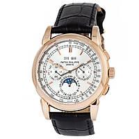 Мужские механические часы Patek Philippe perpetual calendar - цвет золотой с серебристым циферблатом, 58152