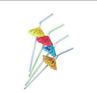 Трубочки для коктейлей в полоску с зонтиком 240 мм (50 шт.)