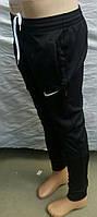 Мужские спортивные штаны Найк зауженные ткань лакоста черный цвет , фото 1