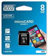 Карта памяти microSD GOODRAM 8 GB class 4 + Adapter