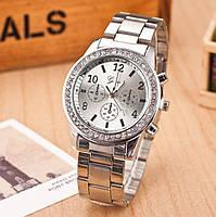 Женские часы Geneva Kors Style Silver под серебро со стразами, Жіночий наручний годинник