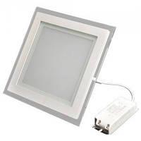 Светодиодная панель встраиваемая со стеклом СП 12W квадрат