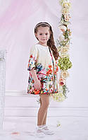 Нарядное платье и кардиган с цветочным принтом на девочку.