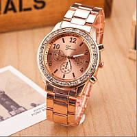 Жіночі годинники Geneva Kors Style Rose Gold рожеве золото зі стразами, Жіночий наручний годинник, фото 1