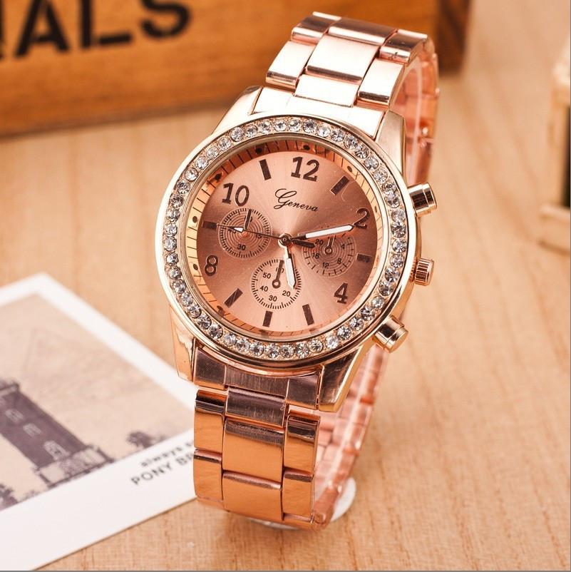 Жіночі годинники Geneva Kors Style Rose Gold рожеве золото зі стразами, Жіночий наручний годинник
