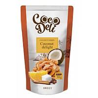 """Кокосовые чипсы  """"CocoDeli"""" со вкусом апельсина, корицы и кофе"""