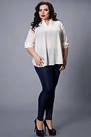 Праздничная шифоновая блуза в белом цвете свободного фасона
