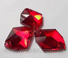 Стразы пришивные Космик (ломаный ромб) 14 х 17 мм Siam (красный), стекло