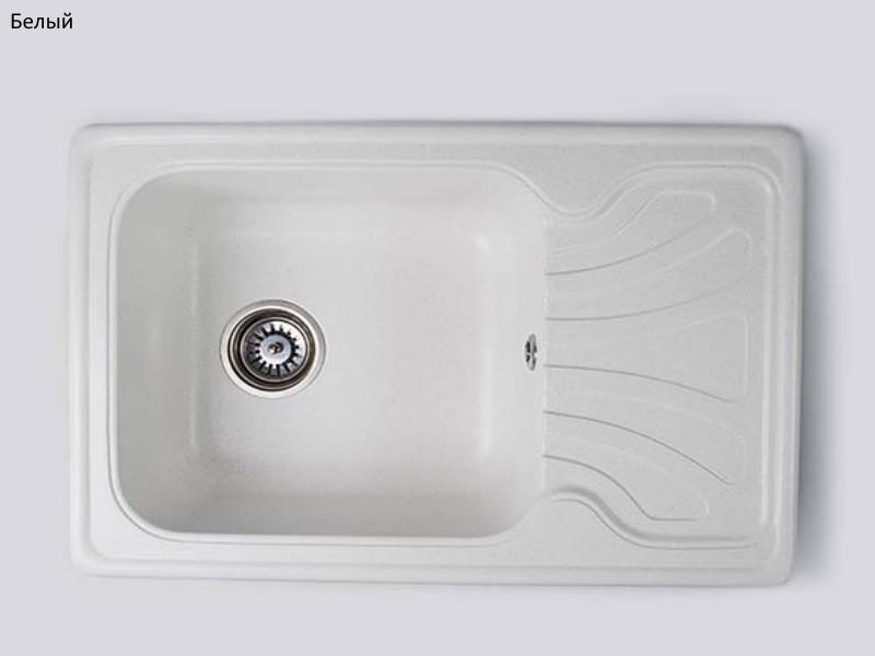 Популярная модель каменной мойки Elegant MIG 650 x 440 mm. Белый цвет, комплектация хром, керамогранит.