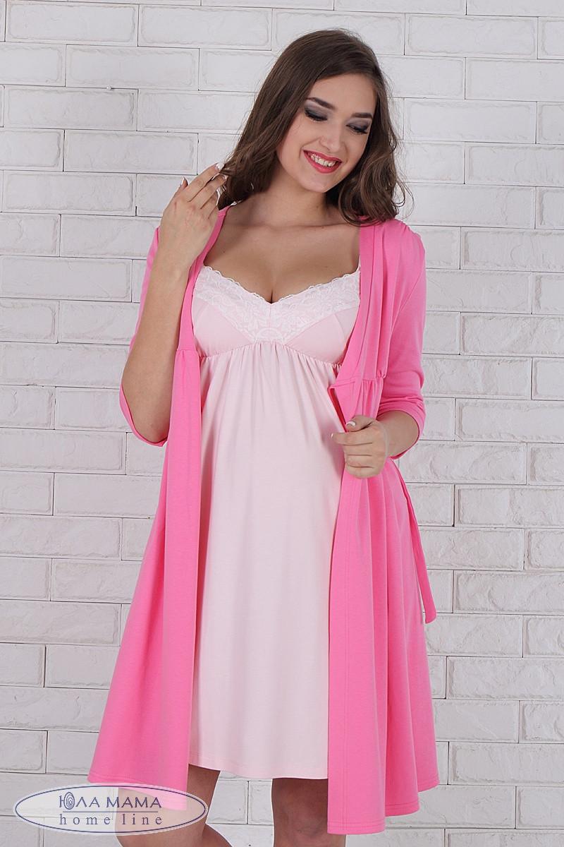 Комплект для Беременных и Кормящих Мам Халат+ночная Сорочка, Розовый ... 9ab24225cad
