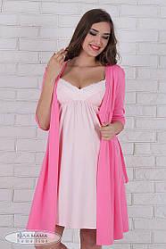 Розовый комплект для беременных и кормящих мам халат + ночная сорочка