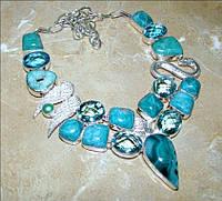 Колье, ожерелье из натуральных камней - АГАТ БОТСВАНА, ГОВЛИТ, КВАРЦ