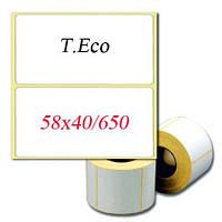 Термоэтикетка T.Eco 58х40 мм (ШхВ). 650шт/рулон. Скидки при заказе 10 рулонов!