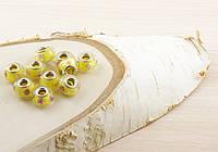 Бусина пандора стекло желтая с рисунком (16х12мм)