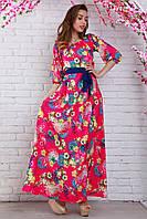 Роскошное вечернее платье из шелк-шифона модной расцветки с украшением на груди