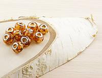 Бусина пандора стекло оранжевая с каплями (16х12мм)