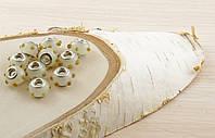 Бусина пандора стекло с желтыми каплями (16х12мм)